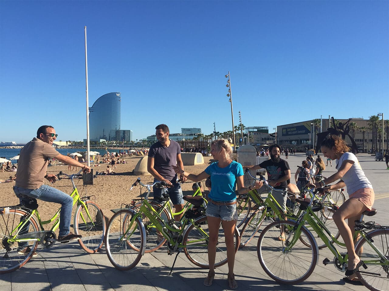 Barcelona bike tour guide shares her knowledge with her group