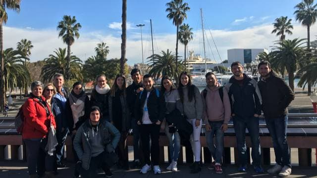 Barcelona free tour participants at the Old Port
