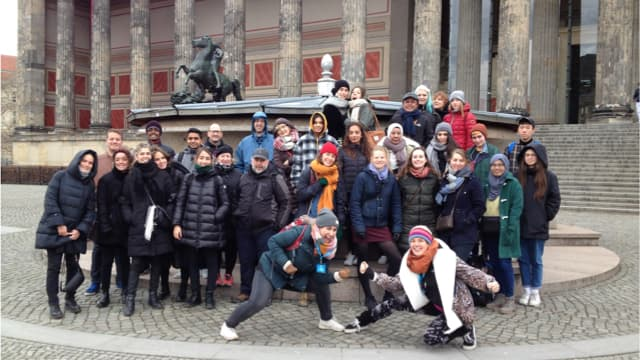 Happy travellers ready to explore Berlin's subcultures and urban art
