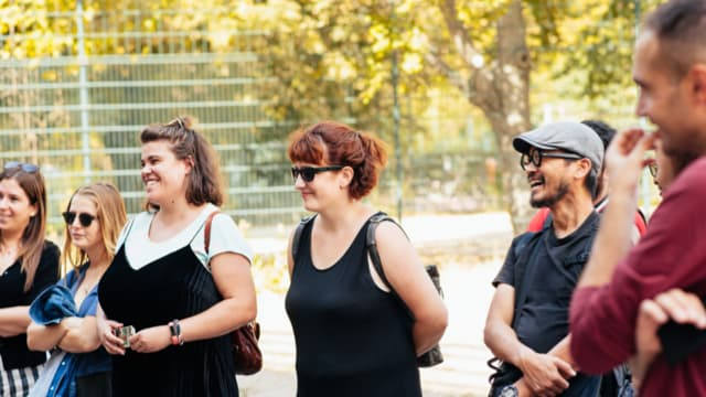 Happy travellers learn about Berlin's alternative culture on our free walking tour
