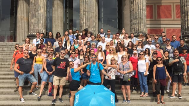 Group of travellers ready to begin free Third Reich tours in Berlin
