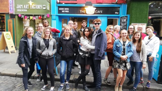 Young group of visitors to Dublin