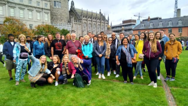 Dublin free tour group in Dublin Castle gardens