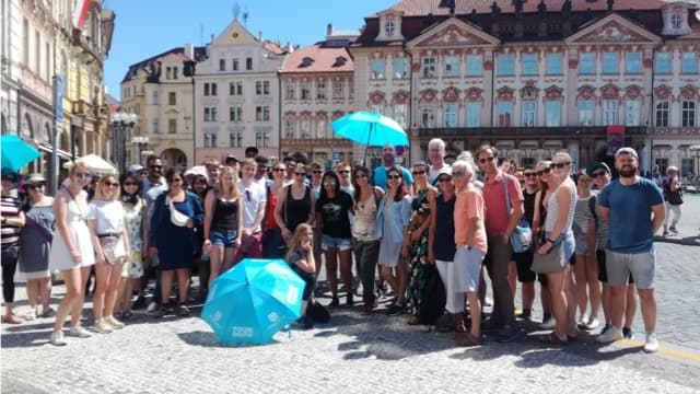 Tour group on our free tour of Prague