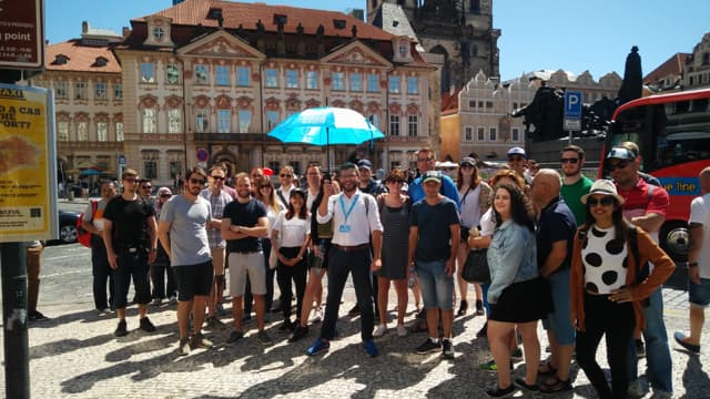 Guide and group of new town tour in Prague