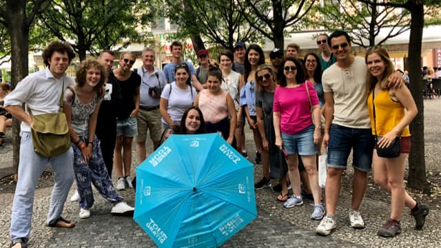 Tour group ready for a free walking tour of New Town in Prague