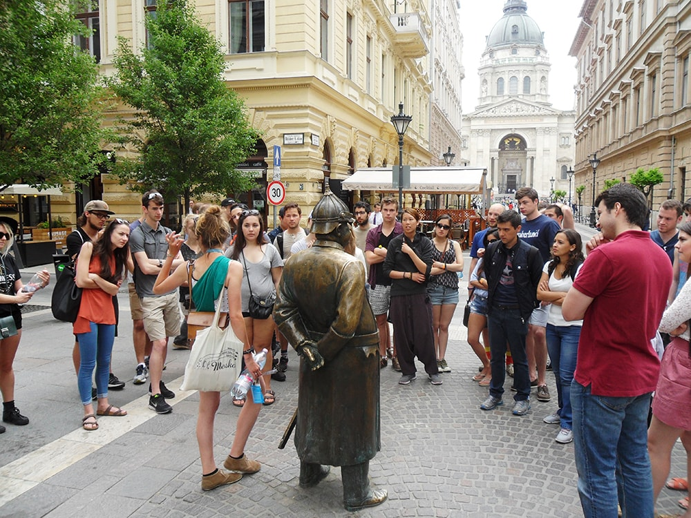 One of the stops during the Budapest walking tour, the Policeman statue