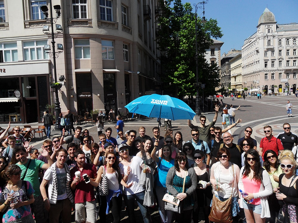 Group of people on a walking tour of HostelCulture International